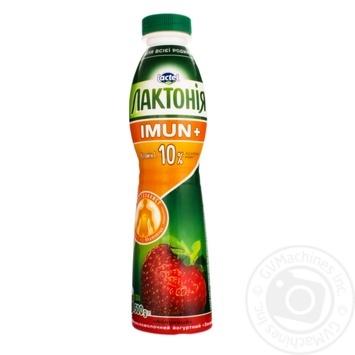Напиток кисломолочный йогуртный Лактония закваска клубника с пробиотиком L.Rhamnosus и витамином С 1,5% Имун+ 1,5% 500г