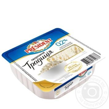 Сир кисломолочний President Творожна традиція  0,2% 200г