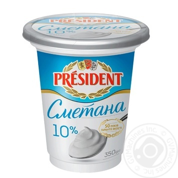 President sour cream 10% 350g - buy, prices for MegaMarket - image 1