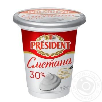 Сметана President 30% 350г - купить, цены на МегаМаркет - фото 1