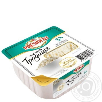 President Tvorozhna tradytsiya cottage cheese 5% 350g - buy, prices for Novus - image 1