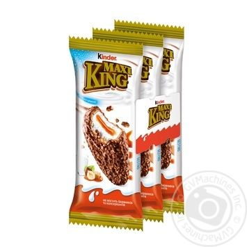 Бисквит Kinder Maxi King с молочно-карамельной начинкой в молочном шоколаде с лесными орехами 3шт 35г - купить, цены на Novus - фото 1