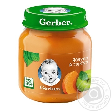 Puree Gerber apple and pumpkin starch and sugar free for 5+ month babies 130g - buy, prices for CityMarket - photo 1