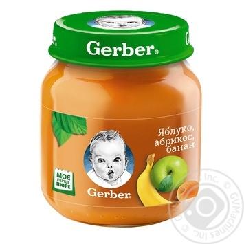 Пюре фруктовое Гербер Яблоко-Абрикос-Банан без крахмала и сахара для детей с 6 месяцев 130г - купить, цены на Фуршет - фото 1
