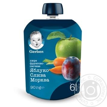Пюре Gerber яблоко слива морковь 90г - купить, цены на Novus - фото 1