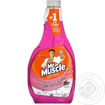 Средство Мистер Мускул Лесные ягоды для мытья стекол запаска 500мл - купить, цены на Ашан - фото 1