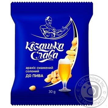 Арахис Казацкая Слава К пиву соленый жареный 30г - купить, цены на Фуршет - фото 1
