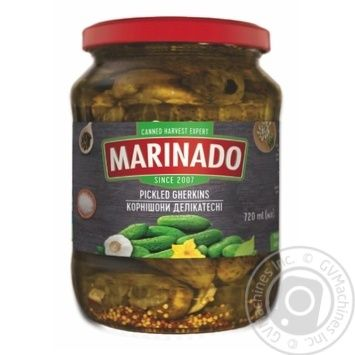 Vegetables cucumber Marinado canned 720g glass jar - buy, prices for Novus - image 1