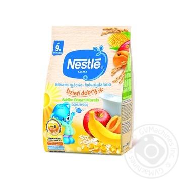 Молочная каша Nestle Рис кукуруза с яблоком бананом и абрикосом 230г - купить, цены на Фуршет - фото 1