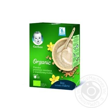 Безмолочная каша Gerber Organic Пшенично-овсяная с ванильным вкусом 240г - купить, цены на Novus - фото 1