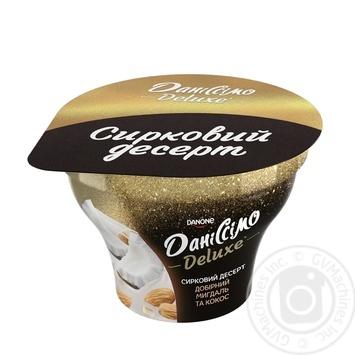 Десерт творожный Данисcимо Deluxe миндаль и кокос 3% 130г - купить, цены на Фуршет - фото 1