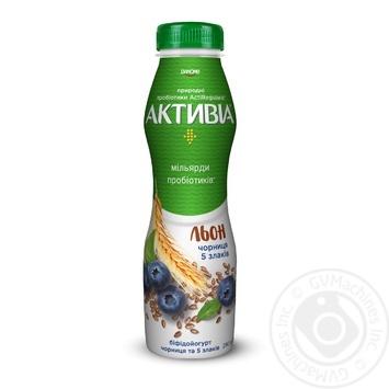 Бифидойогурт Danone Активиа Черника и 5 злаков питьевой 1,5% 290г - купить, цены на Ашан - фото 1