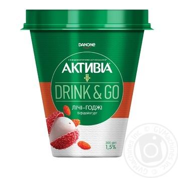Біфідойогурт Danone Активіа Drink&Go Лічі-Годжі питний 1,5% 300г - купити, ціни на Novus - фото 1