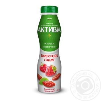 Біфідойогурт Danone Активіа Малина-Годжі питний 1,5% 290г - купити, ціни на МегаМаркет - фото 1