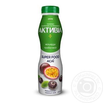 Бифидойогурт Danone Активиа Маракуйя-Асаи питьевой 1,5% 290г - купить, цены на МегаМаркет - фото 1