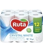 Бумага туалетная Ruta Classic белая 2-слойная 12шт