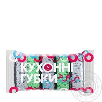 Губки кухонні Добра Господарочка сірий/зелений 5шт - купити, ціни на Novus - фото 1