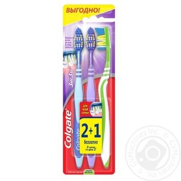 Зубна щітка Colgate Зіг Заг середньої жорсткості 2+1шт - купити, ціни на Восторг - фото 1