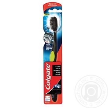 Зубна щітка Colgate 360 Деревне вугілля середньої жорсткості - купити, ціни на Фуршет - фото 1
