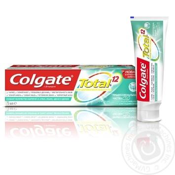 Зубная паста Colgate Total 12 Профессиональная чистка (гель) комплексная антибактериальная 75мл - купить, цены на Фуршет - фото 1