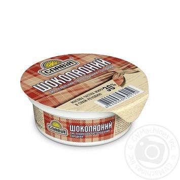 Сыр Славия Шоколадный плавленый пастообразный сладкий 30% 100г - купить, цены на Фуршет - фото 1