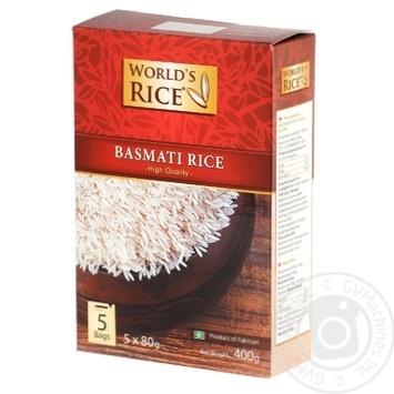 Рис World's Rice Басмати длиннозерный в пакетиках 400г - купить, цены на Ашан - фото 1