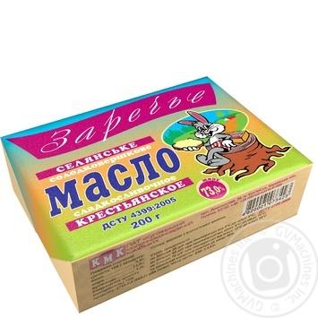 Масло Заречье Крестьянское сладкосливочное 73% 200г Украина