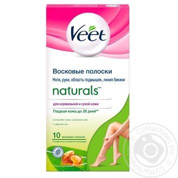 Восковые полоски для эпиляции Veet Naturals с маслом ши 10шт - купить, цены на Novus - фото 1