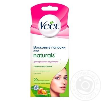 Восковые полоски для эпиляции Veet Naturals с маслом ши 20шт - купить, цены на Novus - фото 1