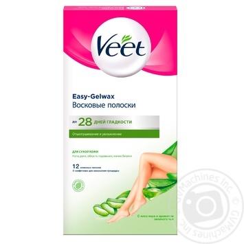 Восковые полоски Veet для эпиляции с Алоэ Вера и молочком лотоса для сухой кожи 12шт - купить, цены на Novus - фото 2
