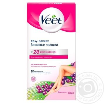 Воскові смужки Veet для епіляції з маслом Ши та екстрактом ягід асаї для нормальної шкіри 12шт - купити, ціни на Novus - фото 1