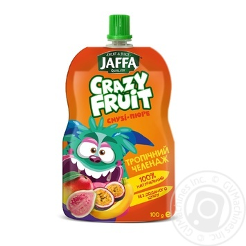 "Smothie- puree Jaffa Crazy Fruit ""Tropical Challenge"" Mango- Banana- Guava- Passion Fruit 100ml - buy, prices for Auchan - image 1"