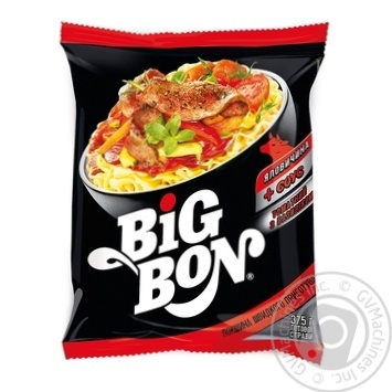 Лапша Big Bon Говядина + соус томатный с базиликом 75г - купить, цены на МегаМаркет - фото 1