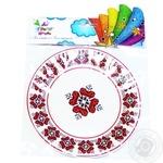Party House Vyshyvanka Paper Disposable Plate 23cm 6pcs