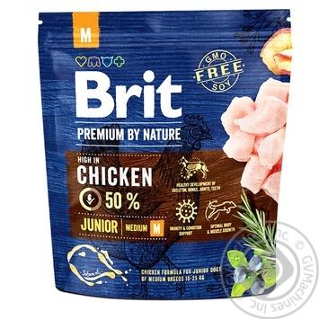 Корм сухой Brit Premium курица для щенков и молодых собак средних пород 1кг