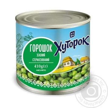 Горошек зеленый Хуторок консервированный 410г - купить, цены на Novus - фото 1