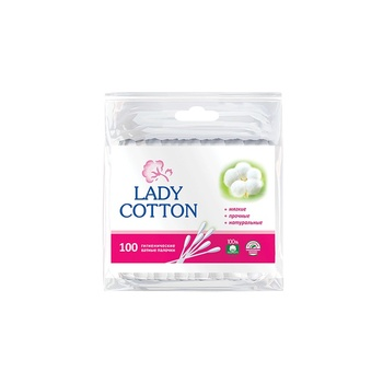 Палочки ватные Lady Cotton в полиэтиленовом пакете 100шт - купить, цены на Varus - фото 1