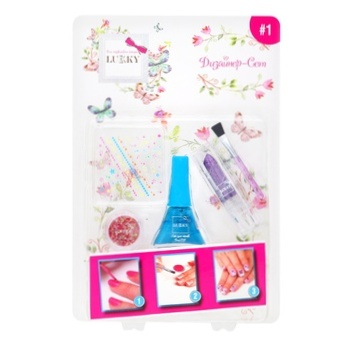 Набор для дизайна ногтей Lukky с фиолетовой помадой