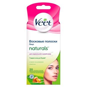 Воскові смужки для епіляції Veet Naturals з маслом ши 20шт - купити, ціни на Восторг - фото 1