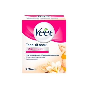 Воск Veet для депиляции с эфирными маслами с многоразовыми полосками 12шт 250мл - купить, цены на Novus - фото 1
