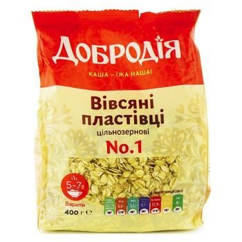 Пластівці вівсяні Добродія № 1 400г - купити, ціни на Ашан - фото 1