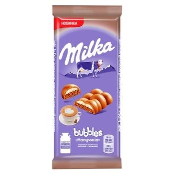 Шоколад молочний Milka Bubbles пористий з начинкою капучино 97г - купити, ціни на CітіМаркет - фото 1