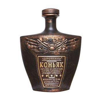 Коньяк Украины Дорошенко ординарный 5 звезд 40% 0.5л керамическая бутылка - купить, цены на Ашан - фото 1