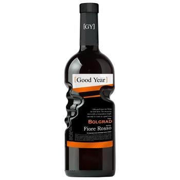 Вино Bolgrad Good Year Fiore Rosso виноградное ординарное столовое красное полусладкое 9-13% 0,75л - купить, цены на СитиМаркет - фото 1