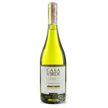 Вино Casa Verde Reserva Шардоне белое сухое 13.5% 0,75л - купить, цены на Novus - фото 1