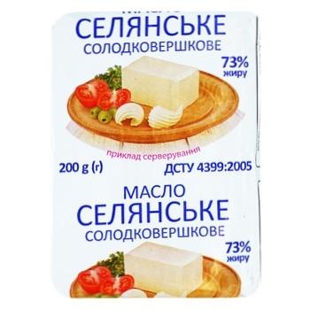 Масло сладкосливочное Крестьянское 73% 200г