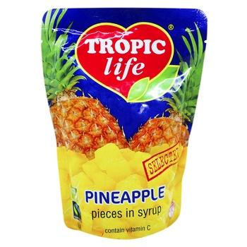 Ананас Tropic Life кусочками высший сорт 430г - купить, цены на Фуршет - фото 1