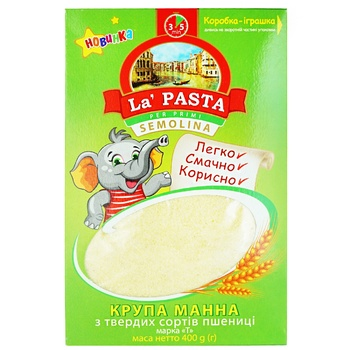 Крупа манна твердих сортів La Pasta 400г - купити, ціни на Ашан - фото 1
