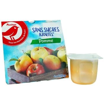 Auchan Puree Fruit Apple without Sugar 100g - buy, prices for Auchan - image 1