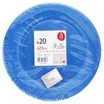 Тарелка Actuel обеденная голубая одноразовая 22см 20шт